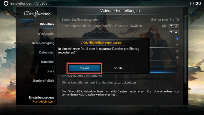 kodi_bibliothek_exportieren_separat