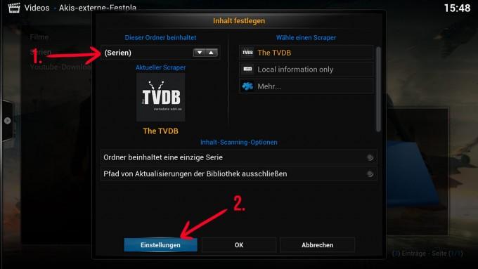 kodi_inhalt_festlegen_serien_untereinstellungen_raspberry