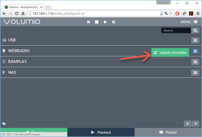 volumio_webradio_ordner_aktualisieren